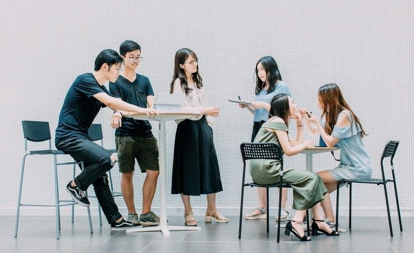 asian people talking